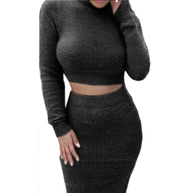 a258f3e4684 2Pcs Set Sexy Women Winter Cropped Sweaters + Skirt Warm Knitted Crop Tops  Pullover Long Sleeve Turtleneck Hoodies Fleece Skirt