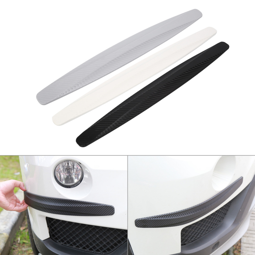 1 Pair Carbon Fiber Front Rear Bumper Protector Corner Guard Scratch Sticker Protection Black White Gray