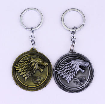 Game of Thrones Keychain A Song of Ice and Fire Dragon Key Chain House Stark Targaryen Wolf Keyring Men Jewelry
