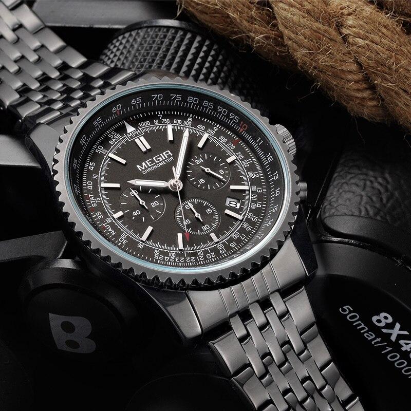 MEGIR Quartz Montre Homme Militaire Sport Chronographe Lumineux Horloge Hommes Montres Top Marque De Luxe Montre-Bracelet relogio masculino