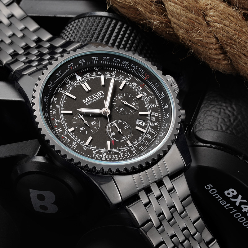 MEGIR Quartz Watch Men Military Sport Chronograph Luminous Clock Mens Watches Top Brand Luxury Wristwatch relogio masculino