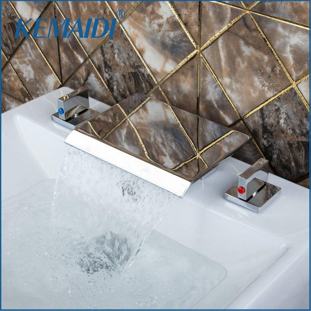 KEMAIDI Bathroom Mixer 3PCs  Bathtub Waterfall Spout Faucet Polished Chrome Brass Deck Mounted Dual Handles Taps polished chrome waterfall flow bathroom sink basin mixer faucet double handles wall mounted mixer taps