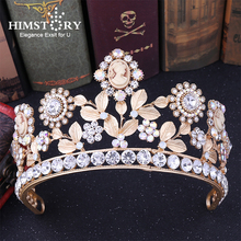 HIMSTORY Baroque Bridal Tiaras Crowns European Gold Bride Hairabnds Headpieces Rhinestone Beauty Wedding Hair Accessories