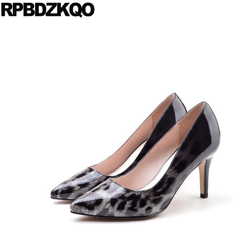Medium Heels Scarpin 12 44 Low Party Pumps Shoes Pointed Toe Patent Leather Women Wine Red Leopard Print High Kitten Plus Size new winter big size and high heel pointed head fine heels women shoe leopard wine red sexy party shoes heels women pumps obuv