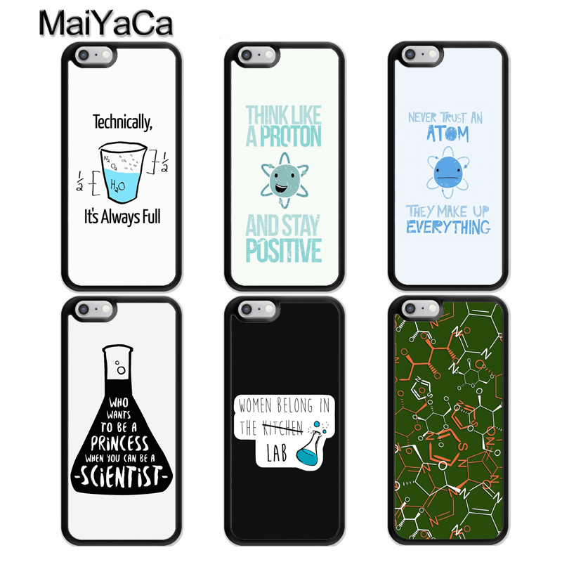 MaiYaCa Atom Science Chemistry Rubber Phone Case For iPhone 6 6S 7 8 Plus 5S SE Cases For iPhone X XS Max XR Coque Fundas in Fitted Cases from Cellphones Telecommunications