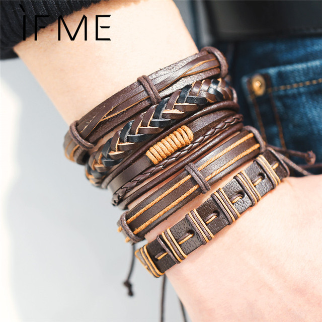 IF ME Black Brown Color Genuine Braided Leather Bracelets For Woman Men Multilay