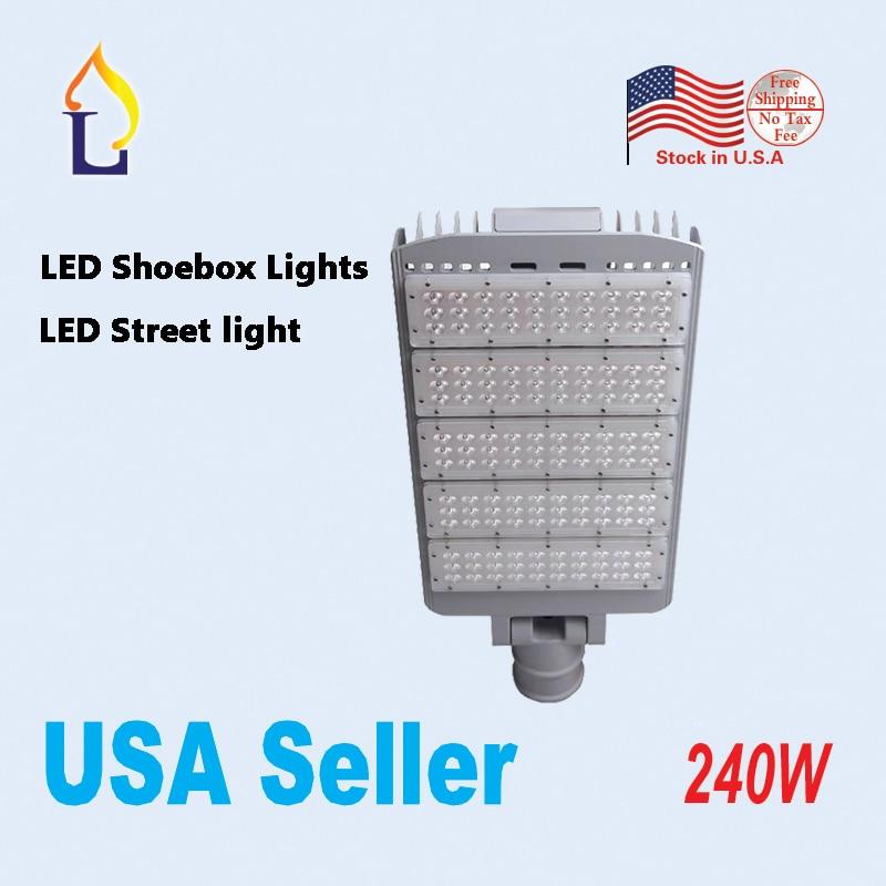 5pcs/lot 240W led shoebox light meanwell Driver SMD3030 AC100 277V waterproof LED Area lights street road lamp