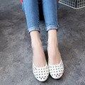 2016 Новый Летний Стиль Женщины Балетки Круглым Носком Туфли на Обувь вырезами Квартиры Обувь Белые Сандалии Женщина Мокасины Zapatos Mujer