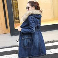 Winter Fur Denim Jacket Women Bomber Jacket Long Sleeve Washed Blue Jeans Jacket Coat with Warm Lining Front Button Flap Pocket