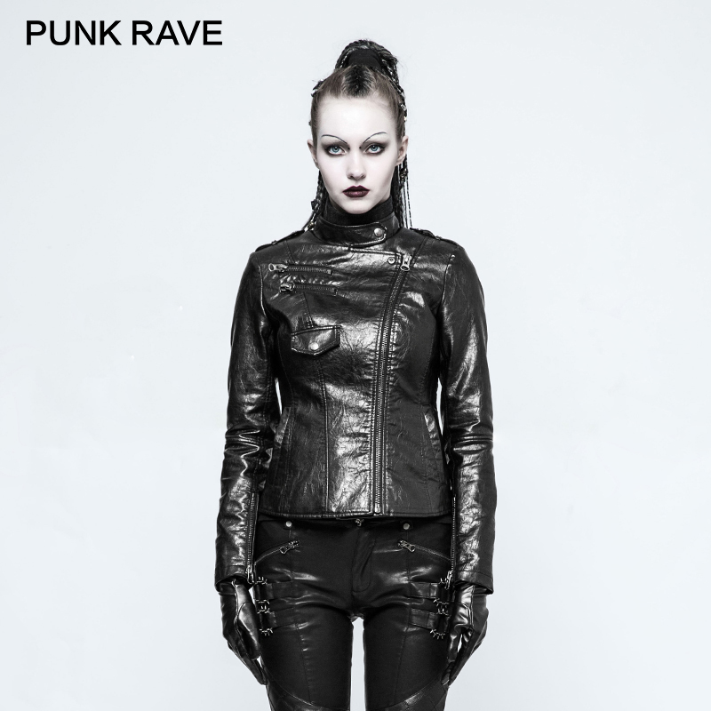 Black Dames Rave Veste Cuir Vestes Hiver Opy Faux Équipée Court Brillant 215 Femme Zipper Manteau En Moto Noir Punk Rock Pu Automne pUHqFOH