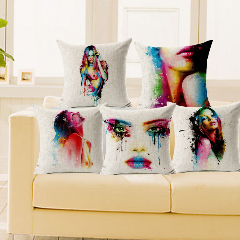 Cushion Cover Colorful Twin Peaks <font><b>Womans</b></font> body Pillowcase Cotton Linen <font><b>Nude</b></font> 18x18 Inches Car Chair <font><b>Seat</b></font> Euro Throw Pillow Cover