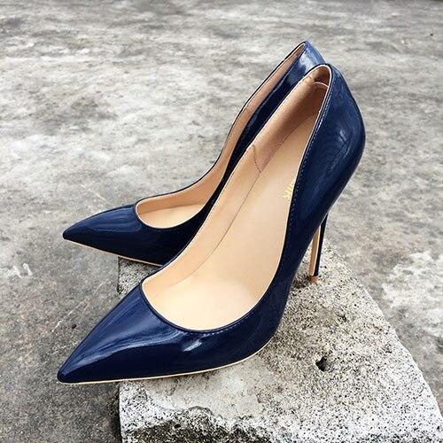 US $34.23 46% OFF|Veowalk Italienischen Stil Frauen Spitz High Heels Glanz Patent Leder Stilettos Damen Einfarbig Pumpen Schuhe Navy Blau in