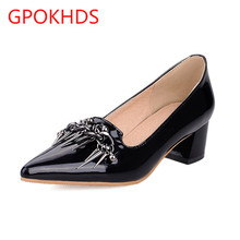 Big size 31-43 high quality hot sale 2017 new style women casual chain autumn spring slip on black color high heels pumps