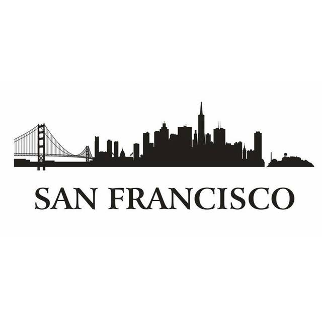 San Francisco City Decal Landmark Skyline Wall Stickers
