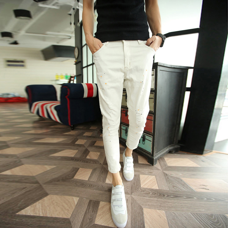 Fashion 2018 Summer Casual white male harem across Ankle Length pants Distressed feet inkjet Knee Ripped Hole Teenagers jeans