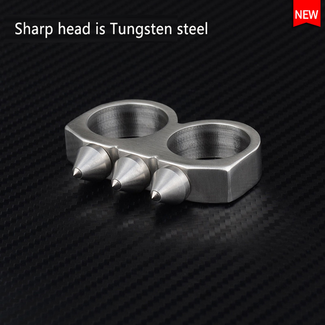 High Quality Tungsten Steel Self Defense  Ring Women and  Men Safety Survival Finger Ring with Chain Stainless steel weapon
