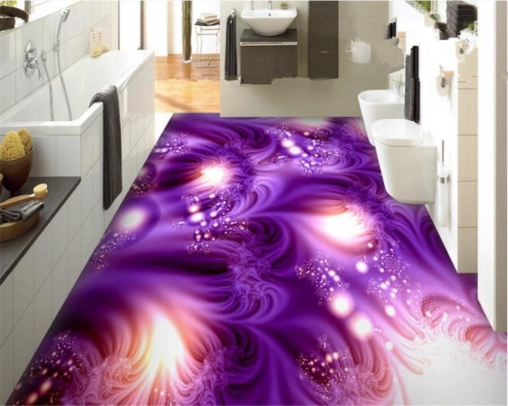 Beibehang schöne lila traum sky tapete pvc bad küche schlafzimmer 3d bodenbelag malerei wasserdicht selbstklebende