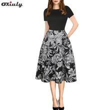 Oxiuly Women Clothes 2018 Vintage Patchwork Dress Black Flower Print A-line Short Sleeve Dresses Retro Rockabilly Vestido