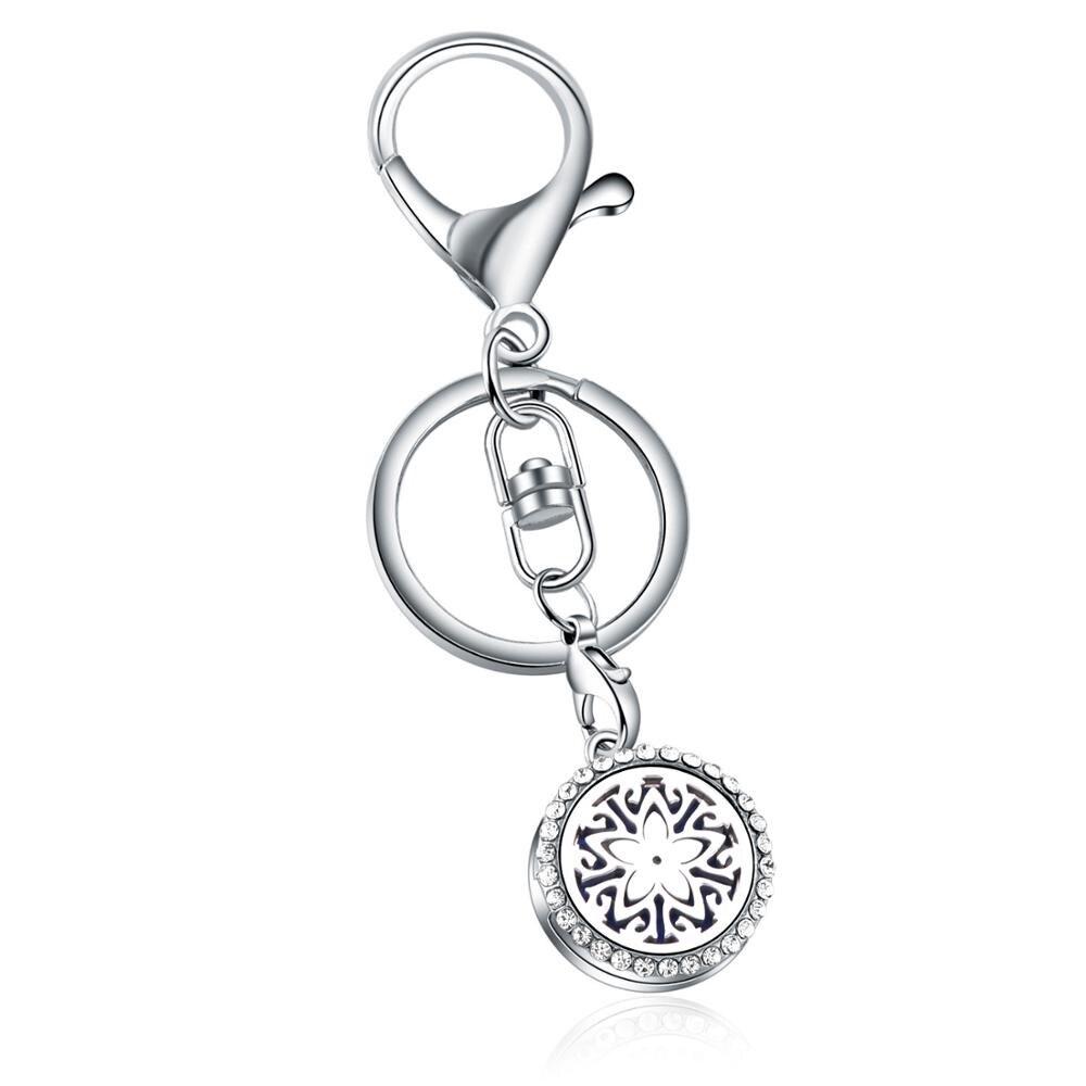 Pentagram Perfume full Rhinestone KeyChain Stainless Steel Essential Oil Diffuser Aromatherapy Locket Key Chain Jewelry