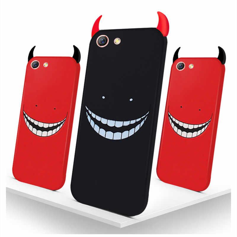 Serin Karikatür Şeytan Boynuzları telefon kılıfı için iphone X XS Max XR için Yumuşak Silikon Kapak iphone 7 6 S 6 S 8 artı Komik Kılıfları Çapa Coque