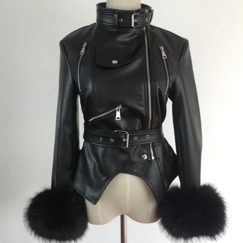 new fur outwear women's PU   leather   jacket casual warm zipper jacket