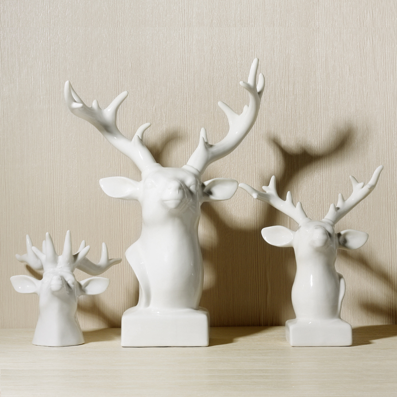 china white deer head figurines ornaments home office stylish living study room table art decoration