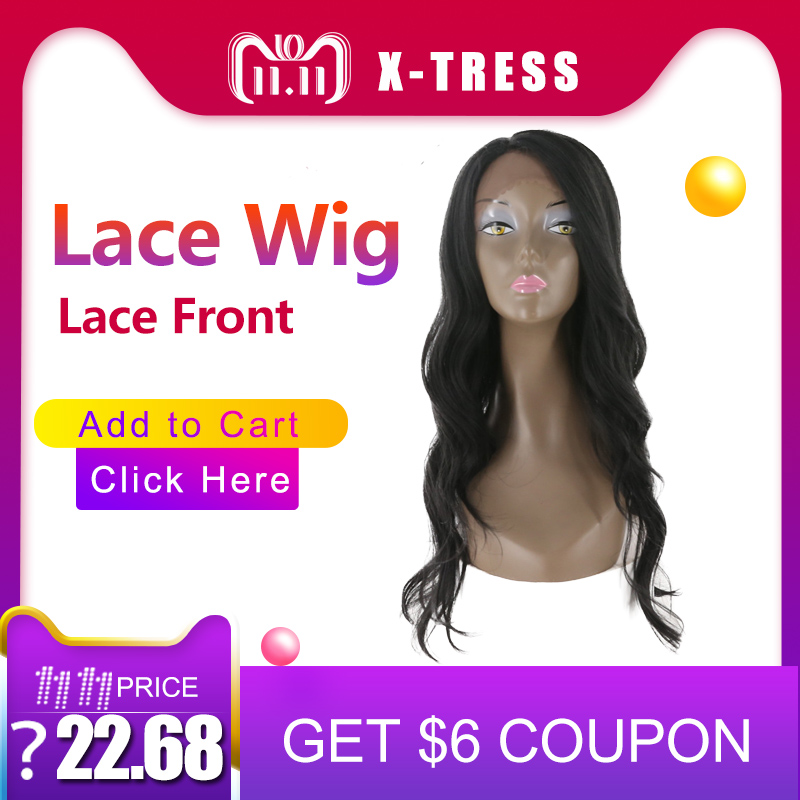 Natural Black Lace Front Wigs With Baby Hair Long Body Wave Kanekalon Free Part Synthetic Hair Silver Full Wig For Women X-TRESS