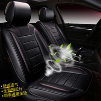 car seat covers set auto seat protection universal fit 5 seats ventilated artificial leather cushion pad full surround 3D black