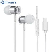 Ollivan Running Sports Type C Earphone Super Bass Earphones TYPE-C In Ear Earbuds With Microphone For Xiaomi Huawei