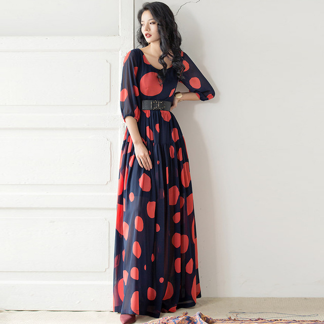9fb1a0e1901 New Fashion 2017 Designer Maxi Dress Women s 3 4 Sleeve Dot Printed Casual  Long Dress