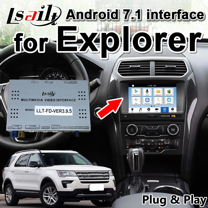 Android 7.1 Multimedia Video Interface GPS Navigation Box for Ford Explorer SYNC3 2016 18 year support two images in same screen