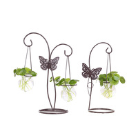 Home Decoration Iron Artistic Butterfly Glass Water Planting Seed Country Decorative Crafts Office Home Miniatures Furnishing
