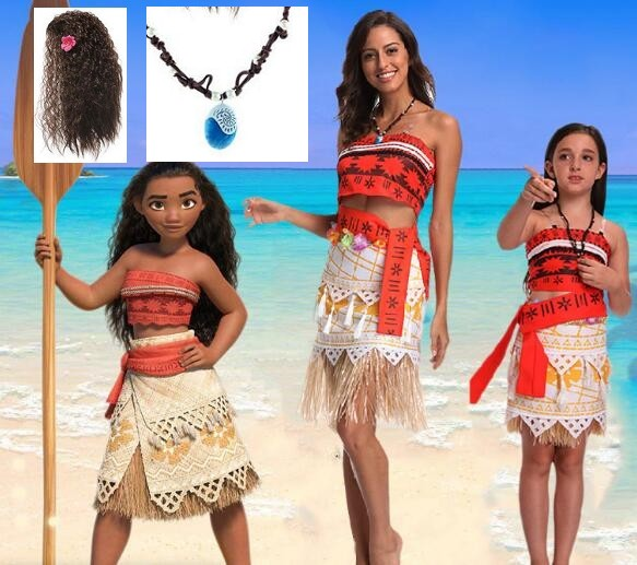 child children Moana Cosplay Costume Girls Clothing Halloween Christmas Costumes For Girls women Wig Kids Cosplay Girls Dress