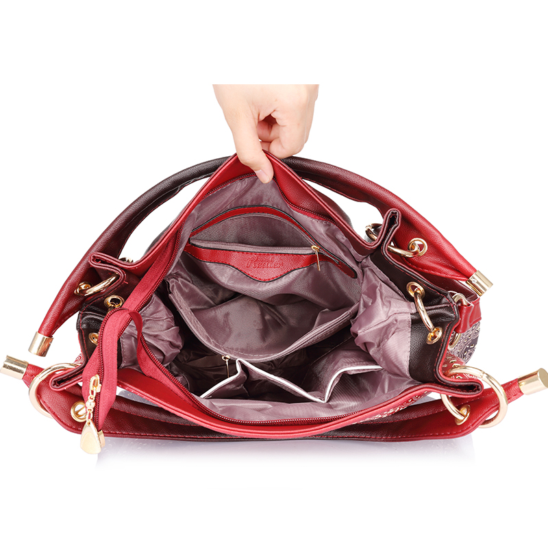 fb7d140c31 ... hollow out ombre handbag floral print shoulder bags ladies pu leather  tote bag red gray blue. 50% Off. 🔍 Previous. Next