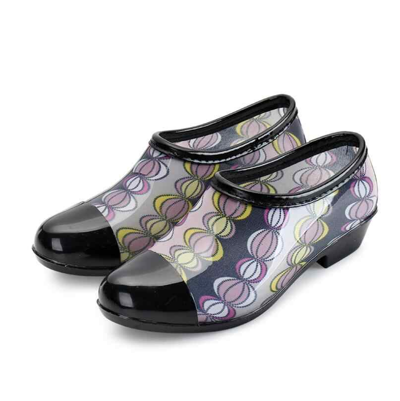 EOEODOIT Women New Arrival Rain Shoes Boots Ankle Length Antiskid Design Square Heels 3 CM Chunky Heel Waterproof Shoes