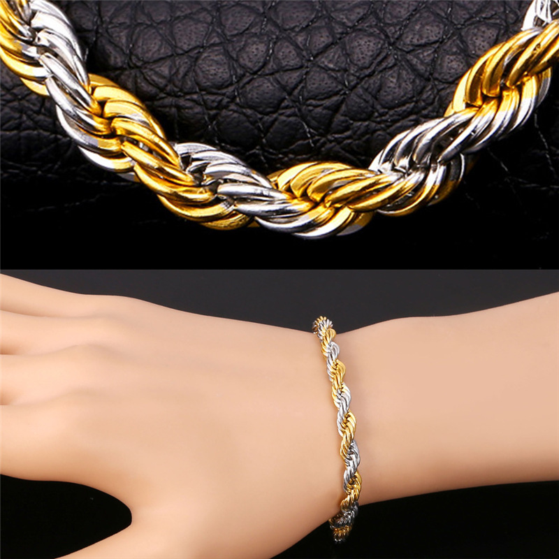 w gold gm bracelet in rope products two tone multi pattern twisted chains beaded