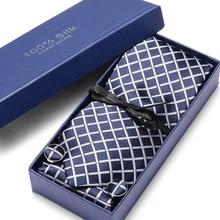 """Тканый классический мужской галстук Галстук т темно-синий плед """" шелковый галстук карманные квадратные вечерние платок запонки галстук набор"""