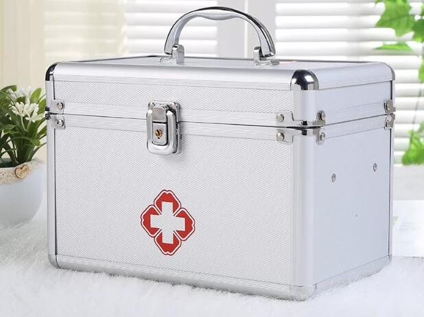 CXB41-CXB55 3M Aluminum Alloy Medicine Cabinet Portable Double-layer Mobile First Aid Ki ...