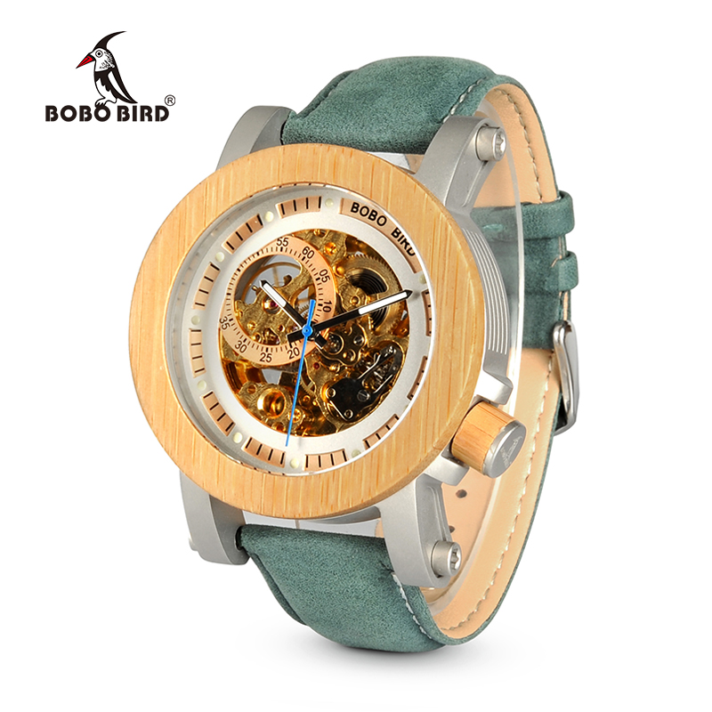 BOBO BIRD WK13 Bamboo Mechanica Watch Vintage Bronze Skeleton Clock Male Antique Steampunk Casual Automatic Navy Band Homme
