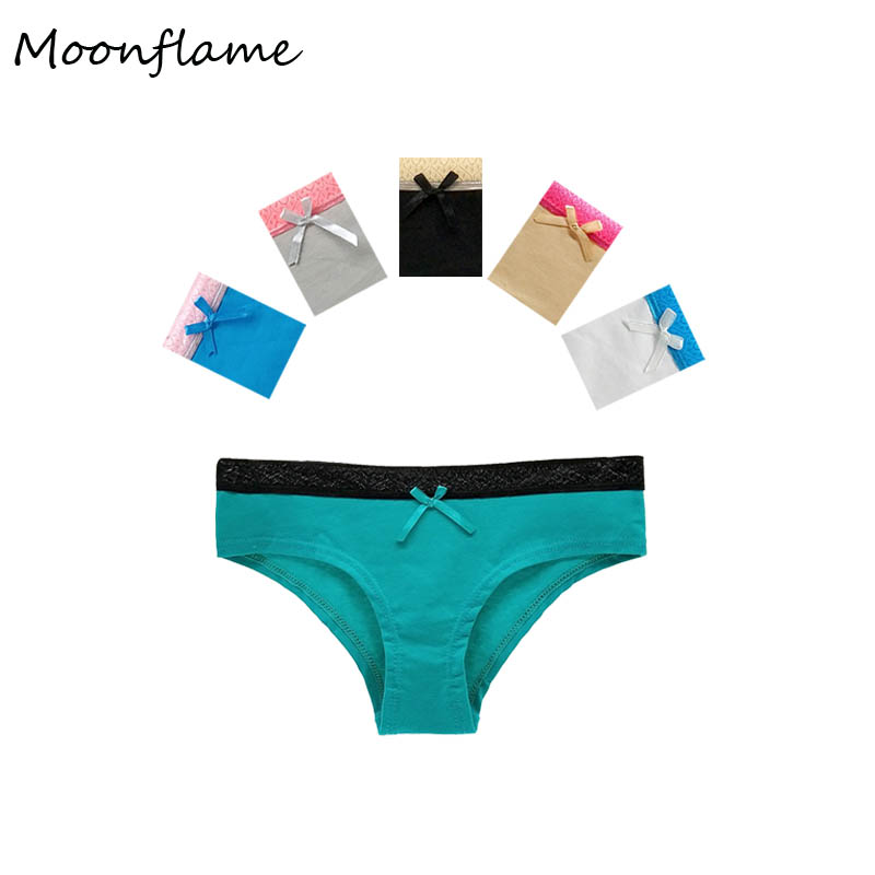 Moonflme 5 pcs/lots N ew Arrival 2019 Underwear Women Cotton Sexy Lace Hipster   Panties   M L XL 89266