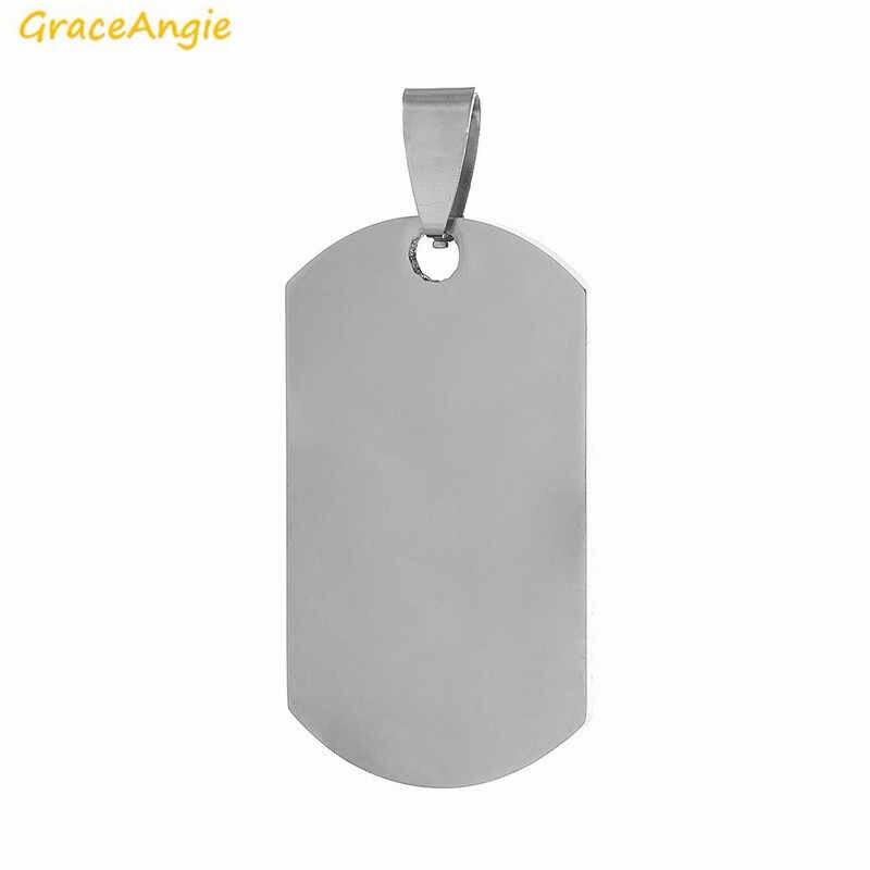 GraceAngie 1PC Army Dog Tag naszyjnik wisiorek ze stali nierdzewnej stany zjednoczone srebrny kolor Metal wojskowy oświadczenie biżuteria dla mężczyzn