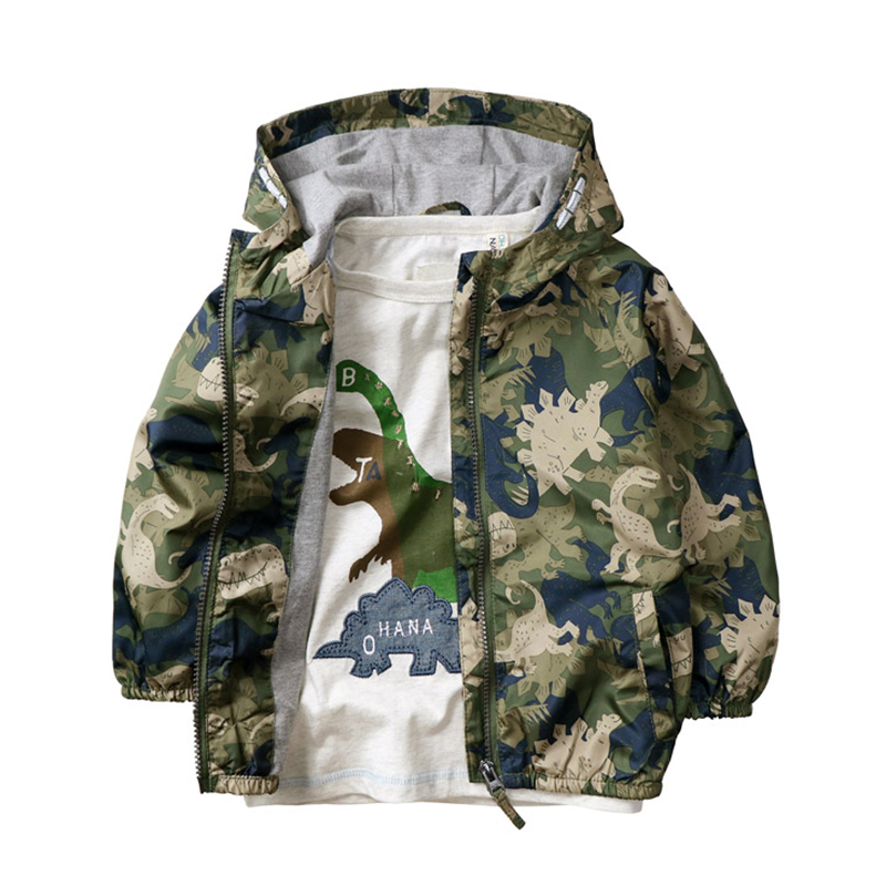 Boy Jacket Coat Boy Spring Hooded Coat Dinosaur Printed Very Good Quality for 3-12 years old Brand Kids Boys Windbreaker button tab cuffs hooded belted coat
