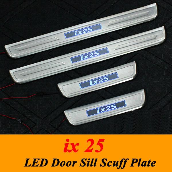 2019 Led Door Sill Illuminated Stainless Steel Scuff: For Hyundai Ix25 Blue LED Light Illuminated Door Sill