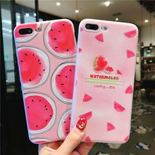 IMIDO Matte Painted TPU Soft Silicone Case For iphone 6/7/8/X Cute Simple New Fruit Watermelon Anti-fall Fashion Phone