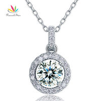 Wholesale 1 Carat Round Cut CZ Simulated Diamond Bridal Solid 925 Sterling Silver Pendant Necklace CFN8037