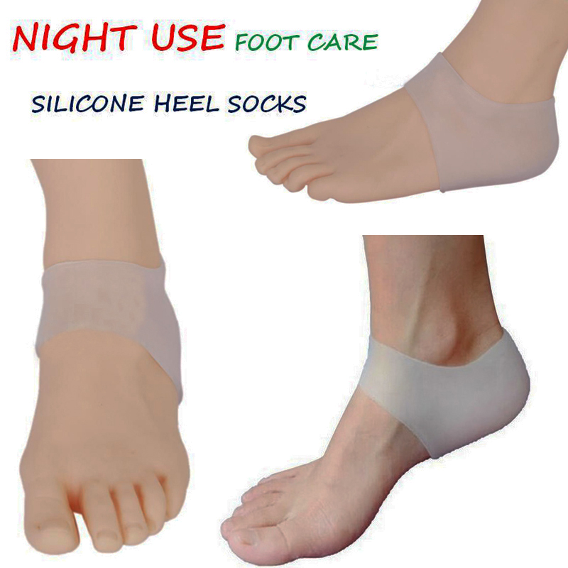 1 Pair Free Shipping Medical Grade Good Soft Silicone insoles Moisturizing Silica Gel Socks Crack Heel Skin Care Foot Protectors