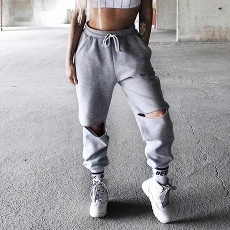 d6e703f4b7 ... Women Loose Baggy Trousers Fashion 2019 Spring Grey Solid Distress Joggers  Sweatpants Ripped Hiphop Dance Pants ...