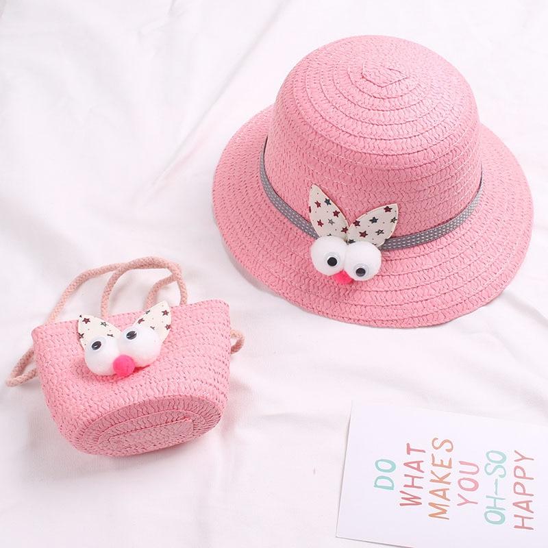 2019 Summer Hat Girls Kids Straw Hat Cap Panama Beach Hats Cartoon Tote Handbag Bags Suit Sun Hat Girl Gorras