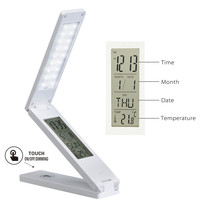 Multi Function Touch Dimming LED Table Desk Lamp Folding Calendar Alarm Clock Temperature Student Book Reading