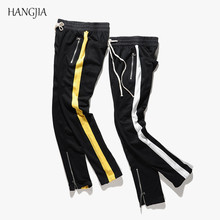 Mans Striped Ankle Zipper Sling Sweatpants Streetwear Hiphop Track Pants Urban Clothing Tyga Europe and the United States trend cheap HANGJIA Full Length COTTON Broadcloth Hip Hop Side Stripe REGULAR Flat Drawstring Midweight Sweatpants for men track pants for mens